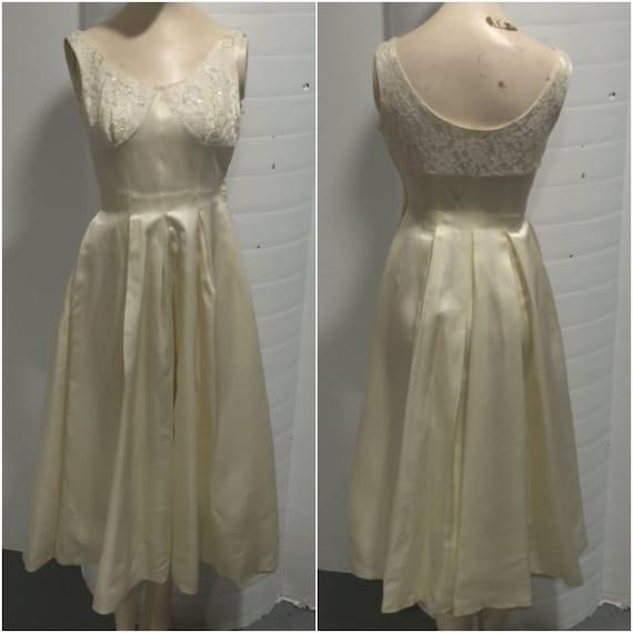 1940s Cream Wedding/Party Dress.