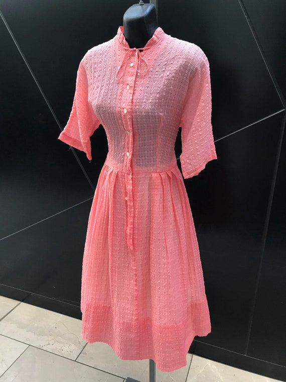 1940s Pink Seersucker Day Dress