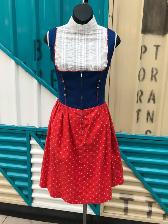 Vintage Blue & Red Dirndl
