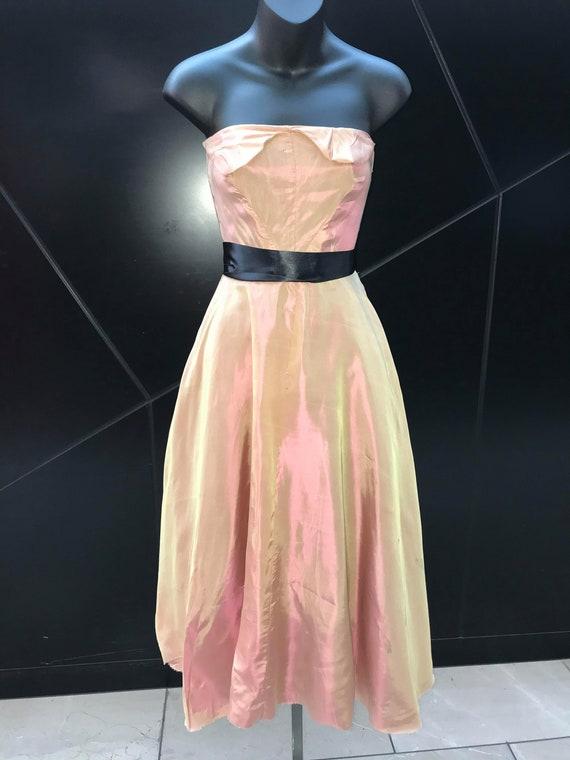 1940s Shot Taffeta Strapless Dress