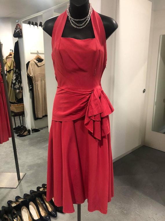 RARE 1940s silk halter dress OOAK antique dress or