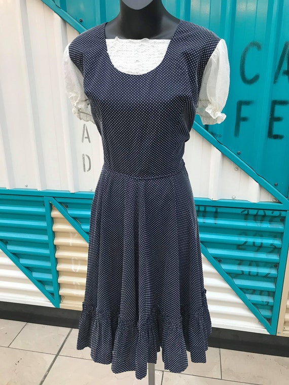 1960s Navy Blue & White Polka Dot Prairie Dress