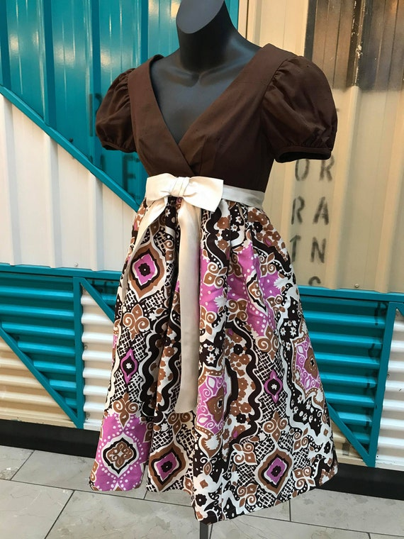 OOAK COUTURE 1960s Brown & Psychedelic Print BabyD