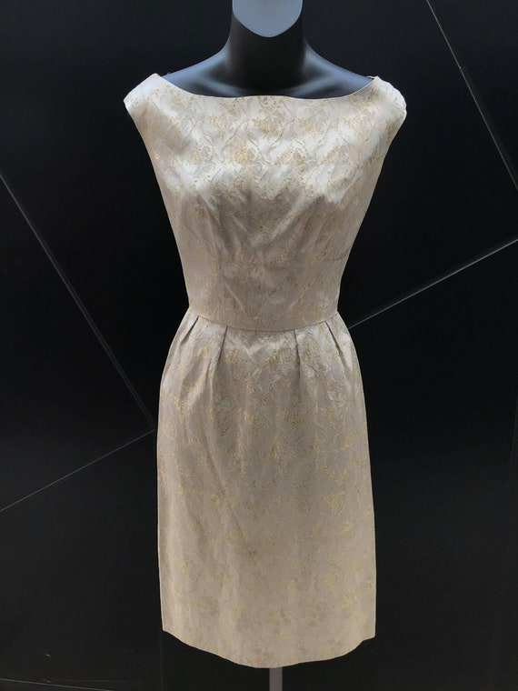 1960s Ivory Gold Brocade Cocktail Dress