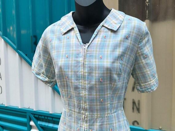 1940s Pastel Plaid Cotton Day Dress - image 5