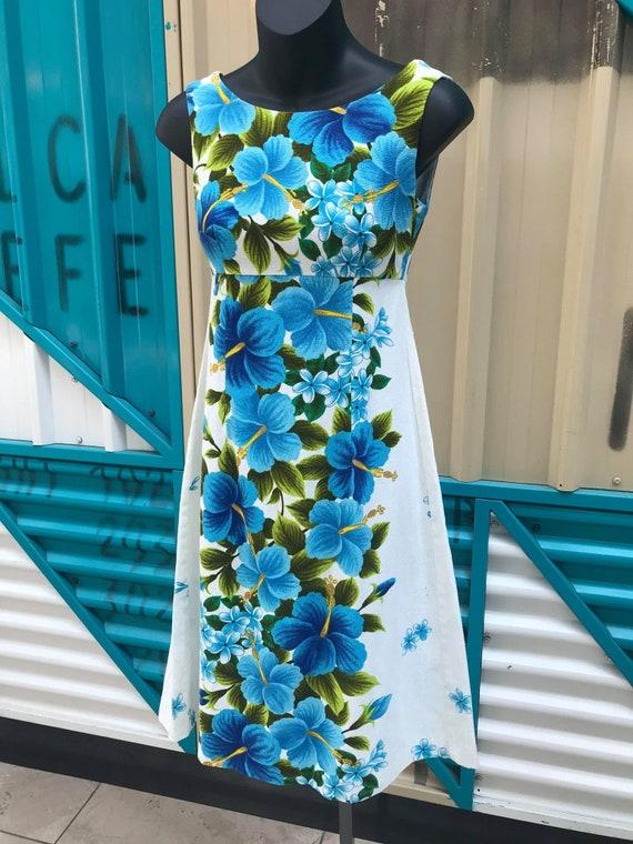 "1960s ""Ui-Maikai"" Hawaiian Cotton Barkcloth Dress"