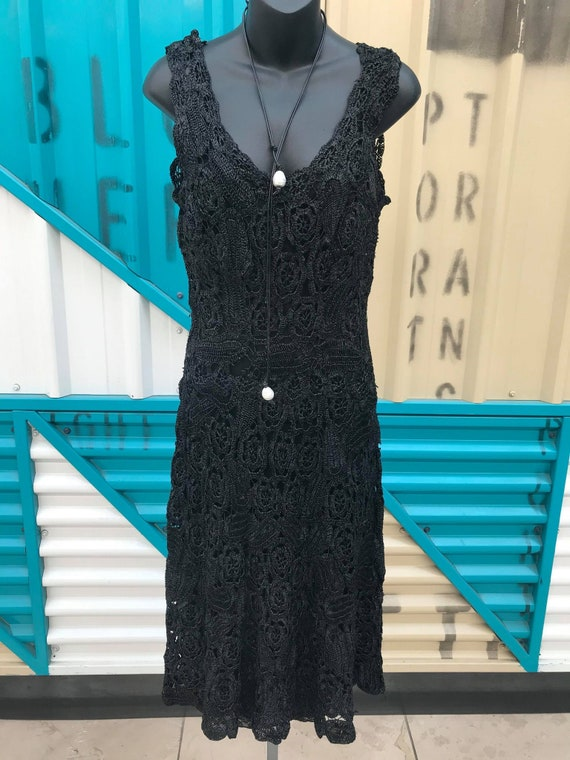 OOAK 1940s Art Deco Black Raffia Lace Dress