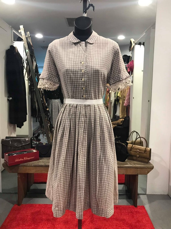 """1950s """"Cay Artley"""" Gingham Day Dress"""