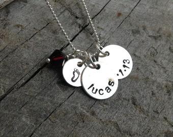 Sterling Silver Birthdate Necklace