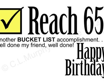 DOWNLOAD 65th Birthday Turning 65 Bucket List Friend Milestone Humor Card