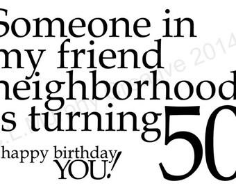 DOWNLOAD 50th Birthday Turning 50 Happy Birthday Friend