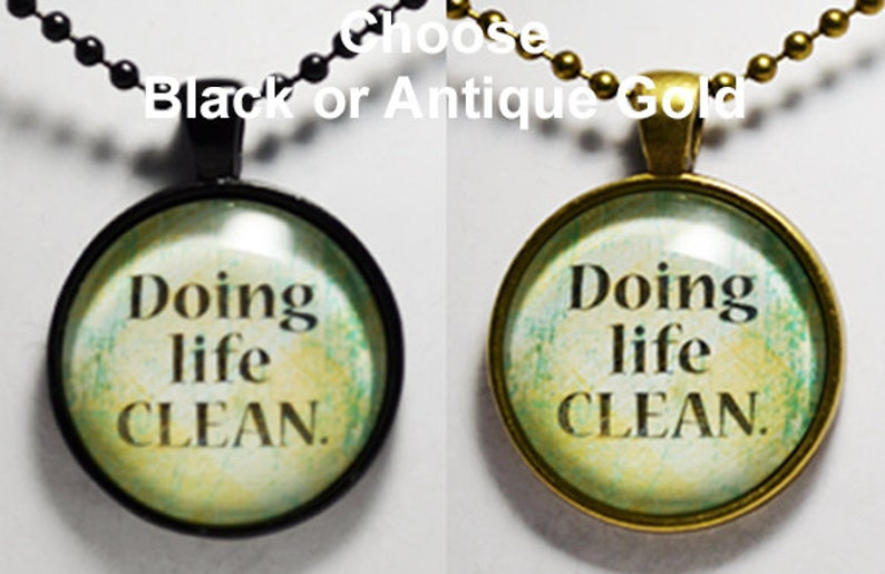 Sobriety Recovery Custom Hand Art Pendant AA NA Living Sober Living Clean Jewelry C L Murphy Creative CLMurphyCreative