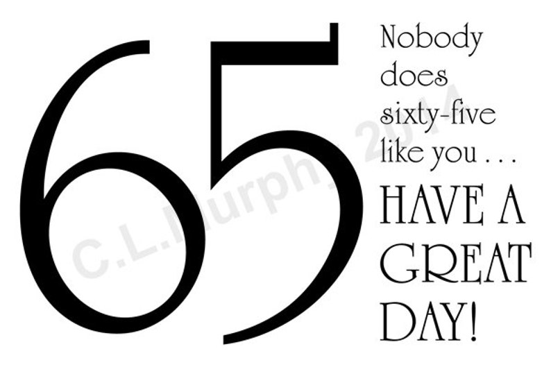 DOWNLOAD 65th Birthday Card Turning 65 Happy