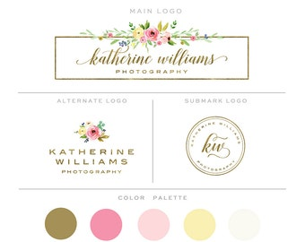 Branding Kit, Photography Logo and Watermark Branding Package, Mini Watercolor Floral Frame & Gold Premade Marketing Set bp81