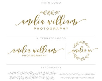 Gold Mini Branding Package, Photography Logo and Watermark, Premade Marketing Kit bp67