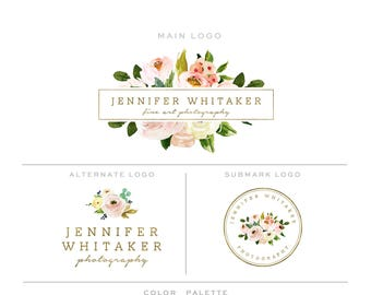 Branding Kit, Photography Logo and Watermark Branding Package, Mini Watercolor Floral Frame & Gold Premade Marketing Set bp85