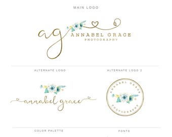 Branding Kit, Gold Mint Photography Logo and Watermark Branding Package, Mini Watercolor Floral & Gold Premade Marketing Set bp86