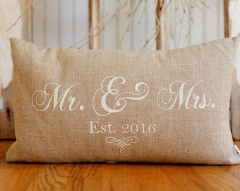 Mr And Mrs Pillow Etsy