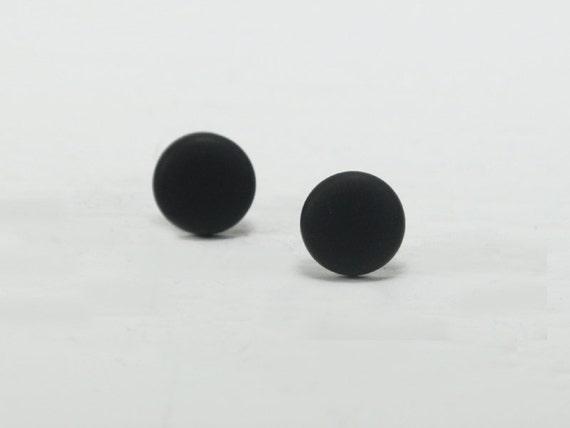 Black Stud Earrings Black Studs Matte Black Earrings Etsy
