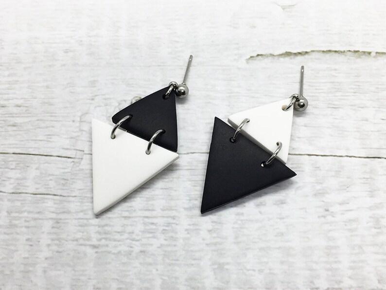 Black White Geometric Jewelry Triangle Dangle Earrings Gift for Girlfriend Minimalist Stud BFF Gift Double Triangle Statement Earrings