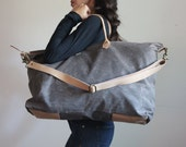 Waxed Canvas Weekend Getaway Bag Charcoal and Tan