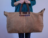 Waxed Canvas Weekend Getaway Bag Soft Brown
