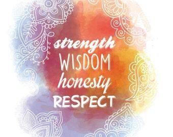 Affiche numérique - Strength Wisdom Honesty Respect