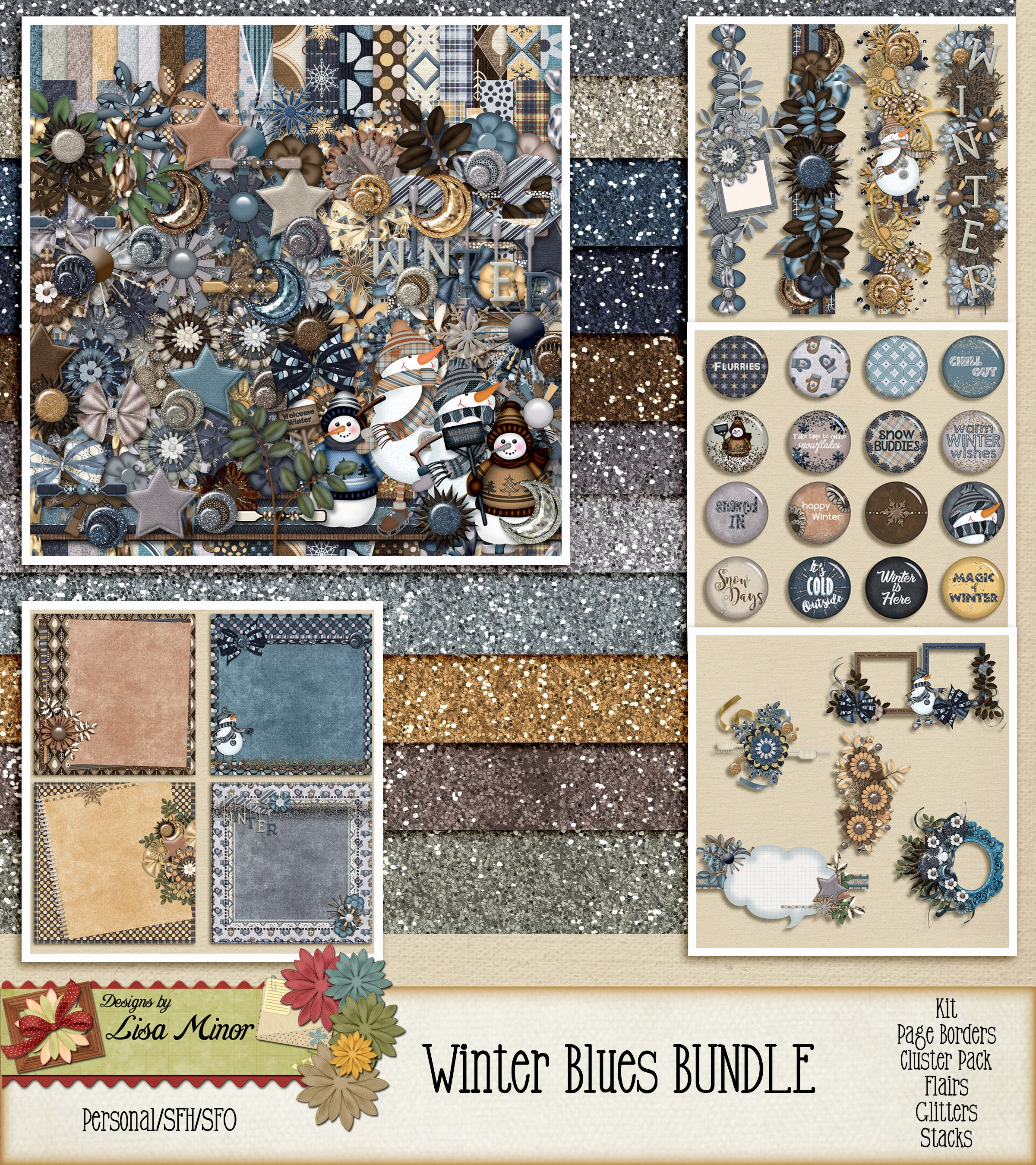 Winter Blues Blues Winter Collection ~INSTANT Download~ Digital Scrapbook Kit f2433b