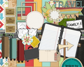 Instant Download ~Fixin' to Travel~ Digital Scrapbook Kit