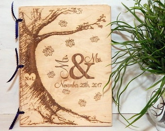 Personalized Wedding Guest Book, Personalized Album, Wedding Guest Books, Bride and Groom, Rustic Wedding