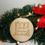 Personalized Baby's First Christmas Ornament, Personalized Ornament, Rustic Wood Christmas Ornament, Baby Ornament
