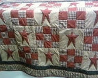 Primitive Star Quilt Queen includes two shams and a throw pillow