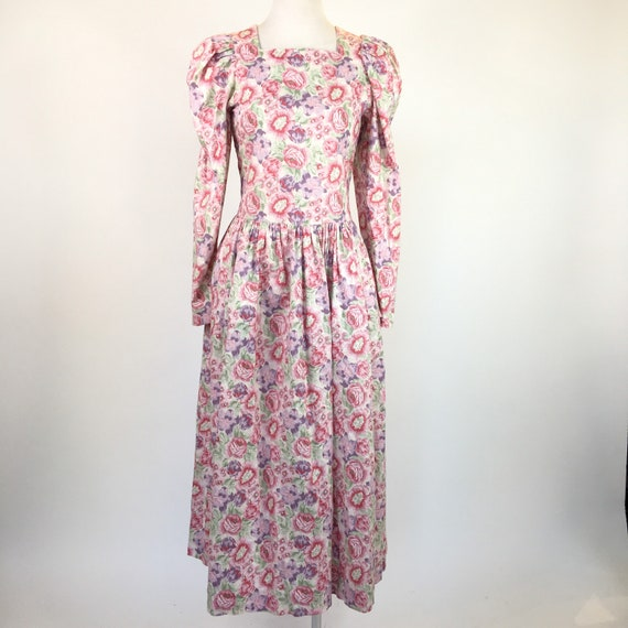 Vintage 1980s Laura Ashley long sleeve pink floral