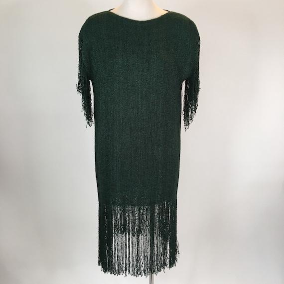 Vintage 1980s handmade green knit fringe dress