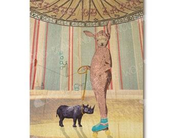 Weird wood art, CIRQUE DU LAPIN, rabbit in rollerskates with rhino