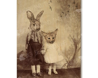 Art on wood, anthropomorphic wall decor, whimsical fox and rabbit, wood art