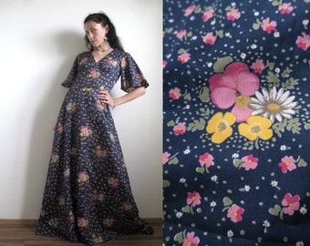 70's Prairie Maxi Dress, Pink, Yellow, White Flowers in Navy Blue, Pansies & Daisies, Floor Length Festival Gown, Fluted Sleeves, Medium M