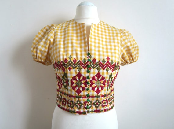 60's Betty Barclay Embroidered Blouse, Yellow Whit