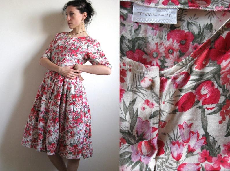 577c5fc7ccef 80's Floral Summer Dress by TWILFIT Fuchsia Pink Rayon   Etsy