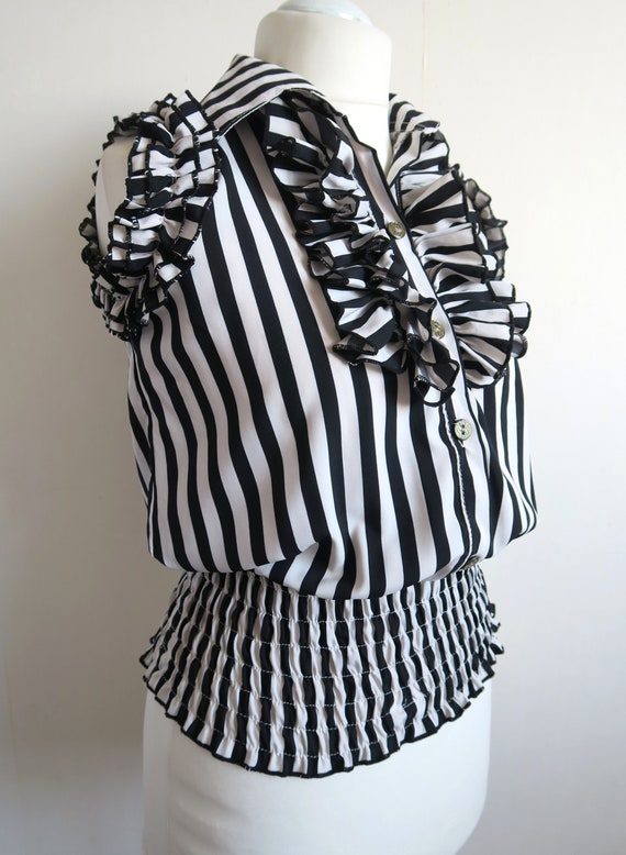 80's Striped Ruffled Top, Frilled Jabot Blouse, Sm