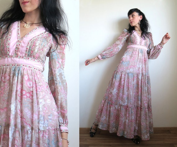 S Sleeves Dress Boho Beige Smock Extra Bodice Floral Blue Voile Tiered Full 70's Length Long Dress Skirt Floor Prairie XS Small Pink Cx8gvRq