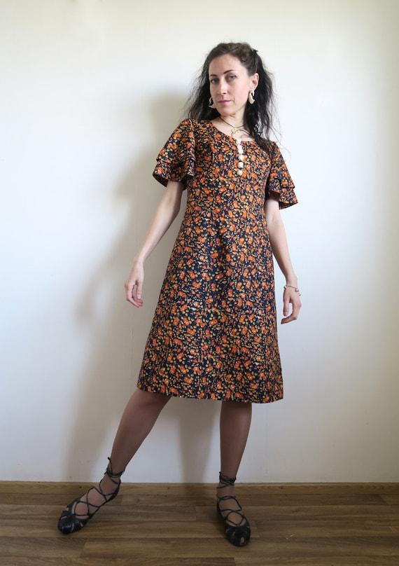 60's Short Floral Dress, Navy Blue & Orange Ditsy