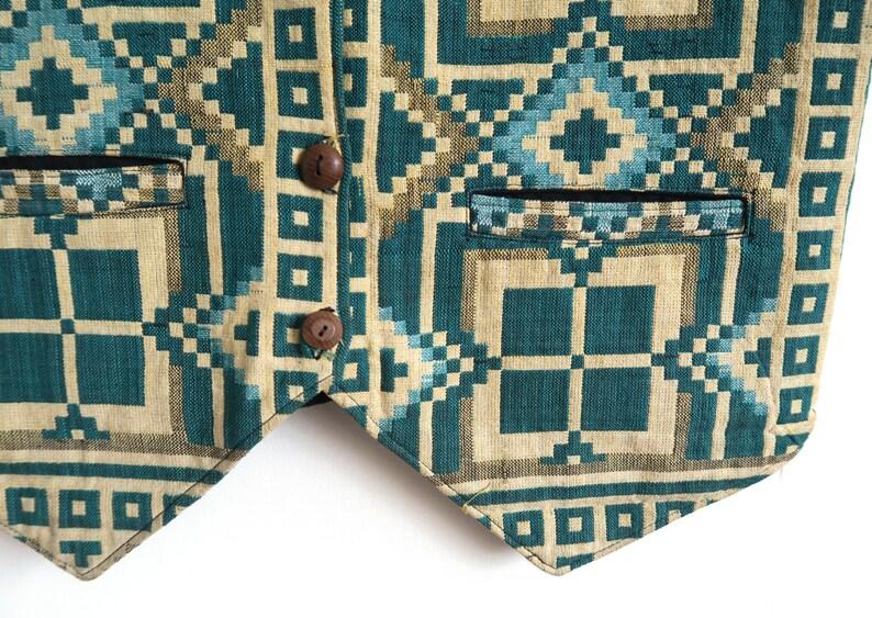 Squares and Rhombuses Oriental Boho Vest Folkloric Waist Coat Geometric Ethnic Pattern Teal /& Yellow Thai Woven Waistcoat Medium SM