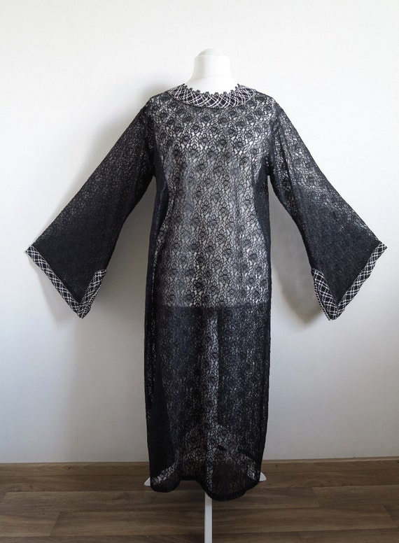 Black Lace Kaftan Robe, Sheer Mesh Lace, Black & W