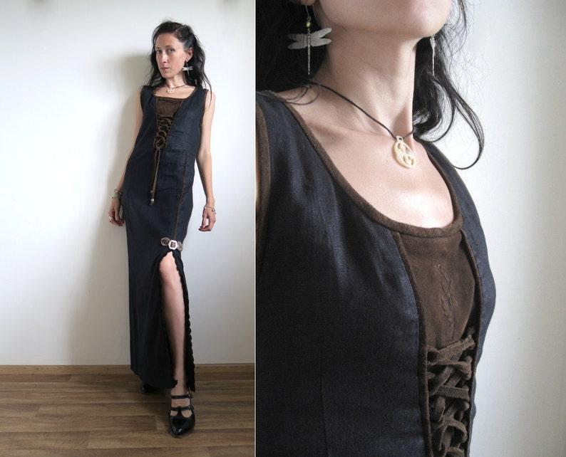 630aa3c1cf3 Goth-Dirndl-Kleid, lang Schwarz & Braun Eichel Kleid, echtes Leder, Leinen,  Flachs, gerade Maxi-Rock, tiefen Schlitz, Schnürung, kleine S