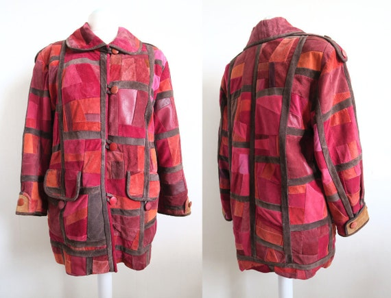 90's Suede Leather Patchwork Coat, Pink & Maroon F