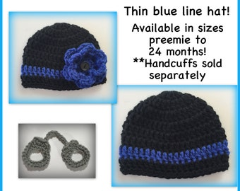 40c3811cd97 READY TO SHIP Thin blue line baby hat