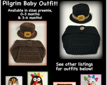 8337579037a READY TO SHIP Pilgrim baby hat and diaper cover set - 0-3 months
