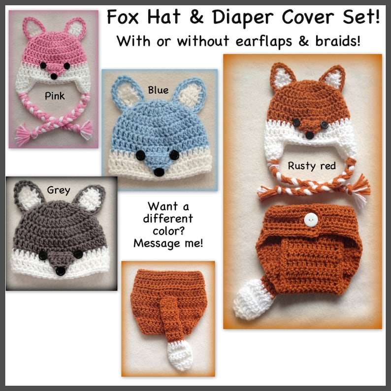 ebf11b8c0 Baby fox outfit, Fox baby outfit, fox hat diaper cover set, 0-3 months,  newborn, preemie, 3-6 months, boy, girl, grey, red, rust, blue, pink
