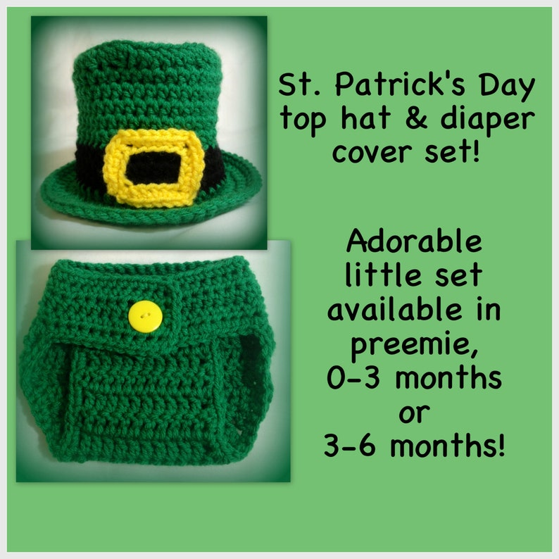 top hat St diaper cover 3-6 months preemie Shamrock outfit leprechaun outfit Patrick/'s outfit 0-3 months